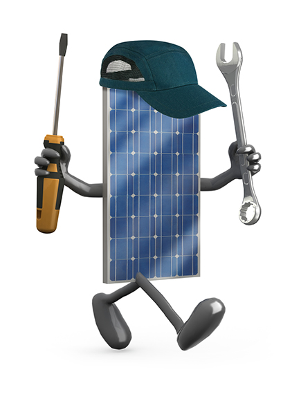 Photovoltaic solar panel with arms, legs and tools on hands, 3d illustration